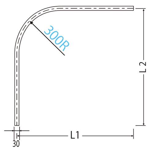 岡田 D30隙間シートカーブレール 800×800×300R アルミ製品図面・寸法図-2
