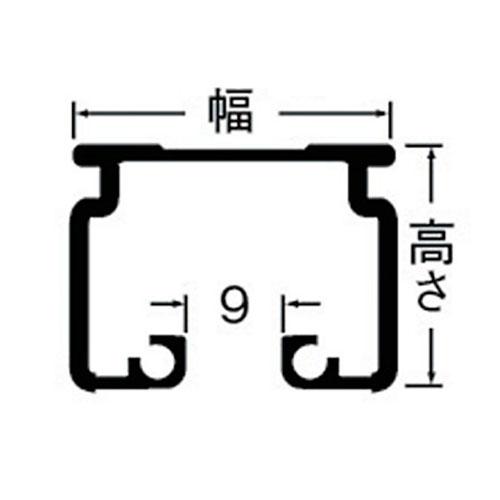 岡田 D30 レール 3m アルミ ホワイト 製品図面・寸法図