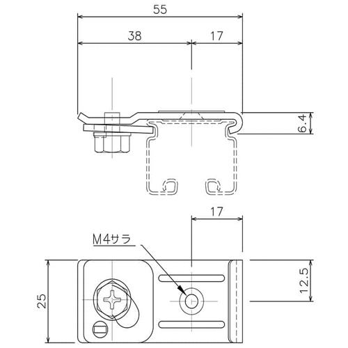 岡田 D30 天井Sブラケット ホワイト 製品図面・寸法図
