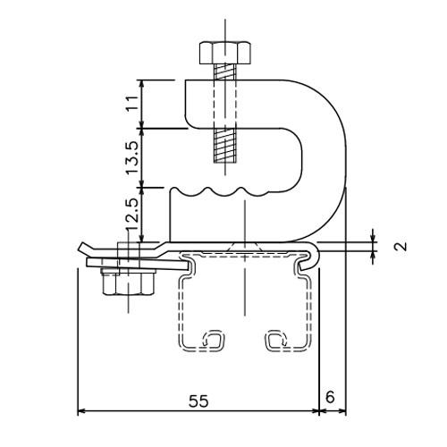 岡田 D30クリップ付天井ブラケット 溶接タイプ -1