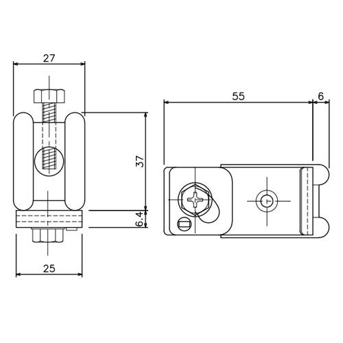 岡田 D30クリップ付天井ブラケット 溶接タイプ-2