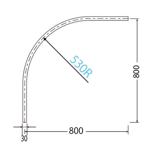 岡田 D30カーブレール 800×800×530R ステンレス製品図面・寸法図-2