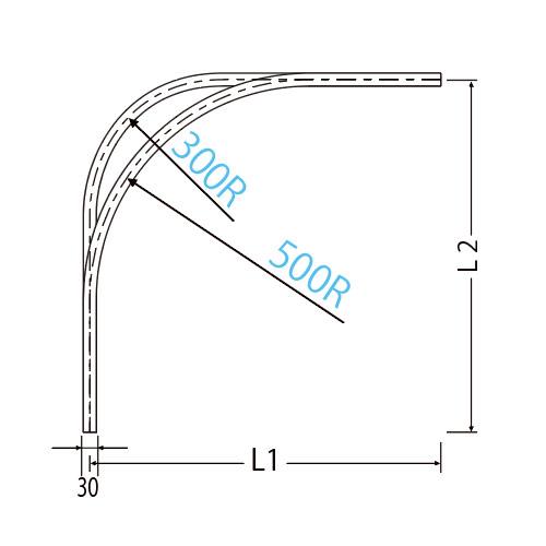 岡田 D40カーブレール 800×800×500R アルミ ブラック製品図面・寸法図-2
