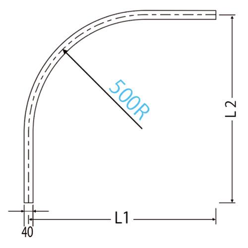 岡田 D40カーブレール 800×800×500R スチール製品図面・寸法図-2