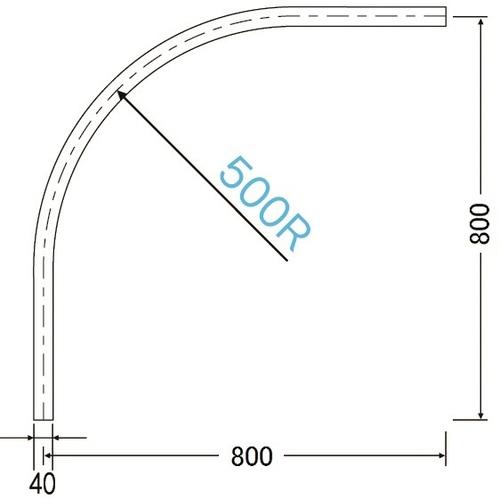 岡田 D40 カーブレール 800×800×500R アルミ ホワイト 製品図面・寸法図-2