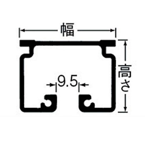 岡田 D40 レール 2m アルミ ホワイト 製品図面・寸法図