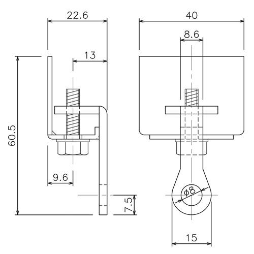 岡田 D40 キャップストップ ホワイト 製品図面・寸法図