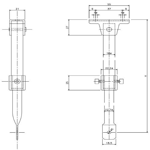 岡田 D40伸縮吊棒 1600(850~1600mm)