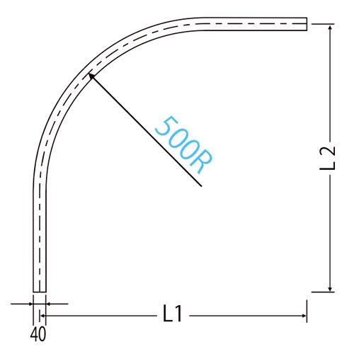 岡田 D40隙間シートカーブレール 800×800×500R アルミ製品図面・寸法図-2