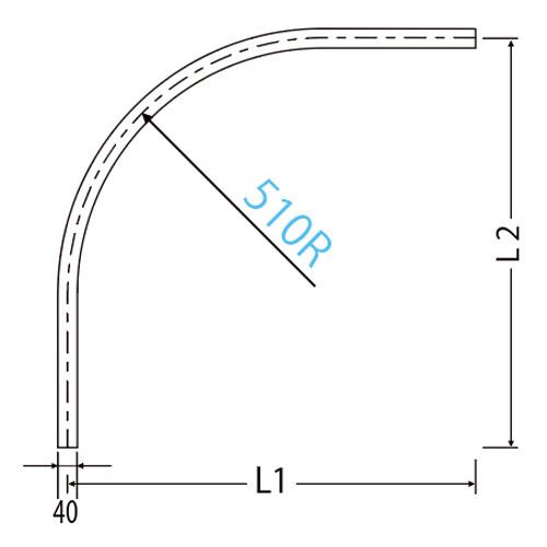 岡田 HGカーブレール 800×800×510R アルミ製品図面・寸法図