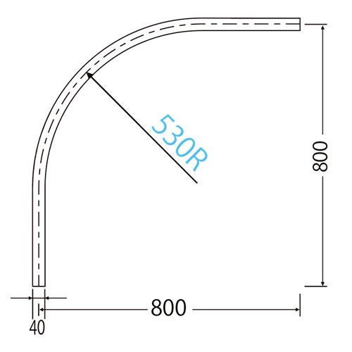 岡田 D40カーブレール 800×800×530R ステンレス製品図面・寸法図-2