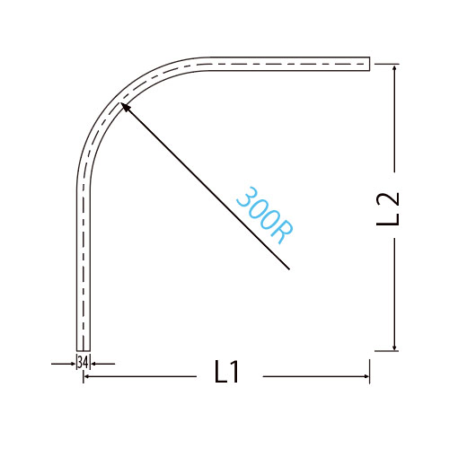 岡田 キャリーカーブレール 800×800×300R アルミ製品図面・寸法図-2
