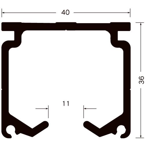 岡田 XGレール 2m アルミ製品図面・寸法図