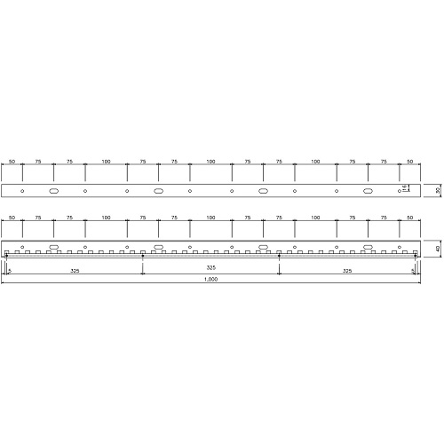 岡田 のれんシートフレーム 【Aタイプ】 固定式 ステンレス 1000mm 製品図面・寸法図-2