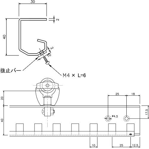 岡田 のれんシートフレーム 【Aタイプ】 可動式 ステンレス 1000mm 製品図面・寸法図-1