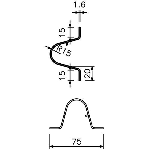 岡田 のれんシートフレーム 【Bタイプ】 固定式 スチール 1000mm 製品図面・寸法図-1