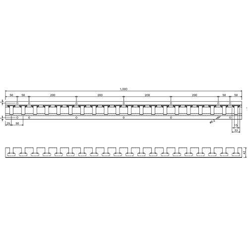 岡田 のれんシートフレーム 【Bタイプ】 固定式 スチール 1000mm 製品図面・寸法図-2