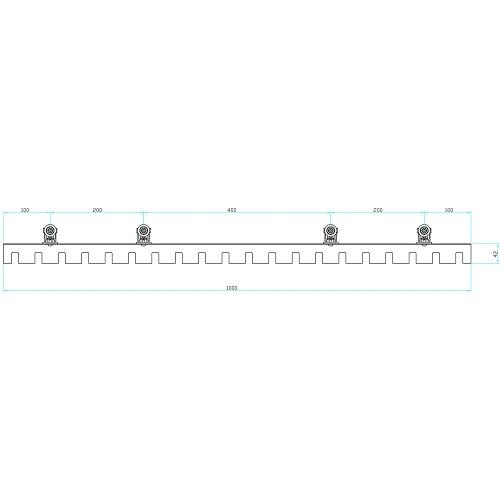 岡田 のれんシートフレーム 【Bタイプ】 可動式 スチール 1000mm 製品図面・寸法図-2
