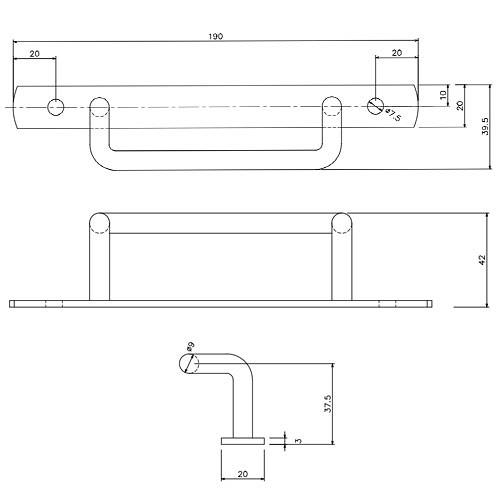 岡田 間仕切ステン簡易L型取手 ボルト式-1