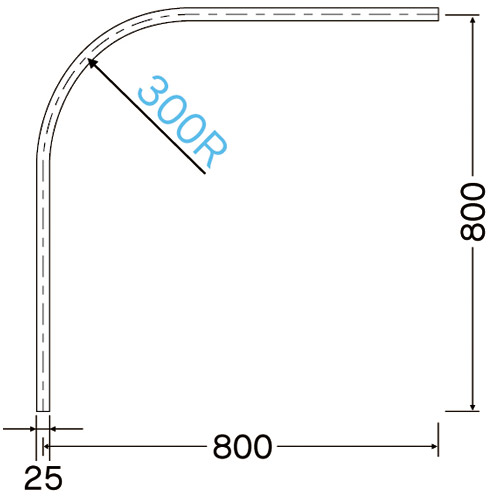 岡田 D25カーブレール 800×800×300R アルミ製品図面・寸法図