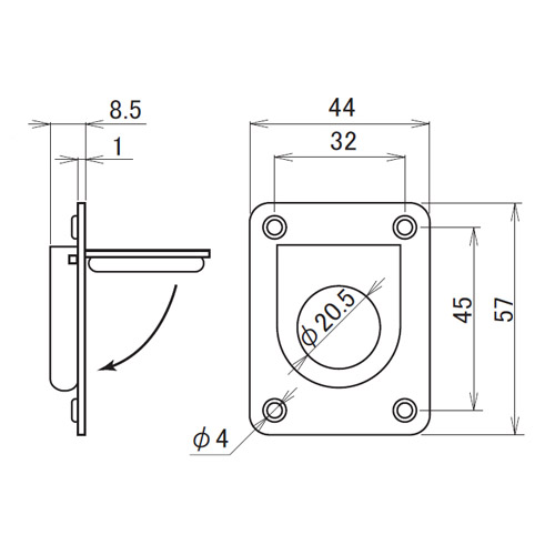 日中 リングプル 小 鏡面製品図面・寸法図