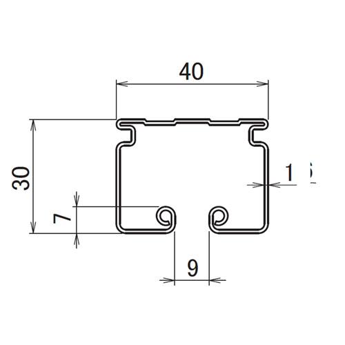 日中 レクト40 スチールレール 3.00m製品図面・寸法図