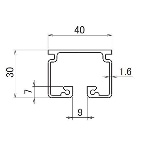 日中 レクト40 アルミレール 2.00m製品図面・寸法図