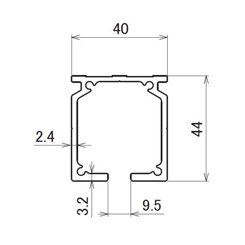 日中 アルトラック アルミレール 3.00m製品図面・寸法図