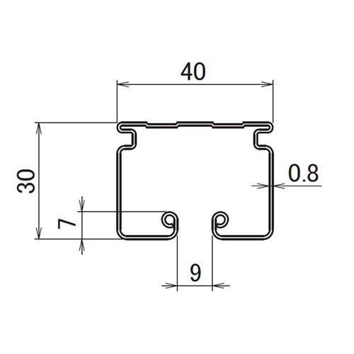 日中 レクト40 ステンレスレール 2.00m製品図面・寸法図