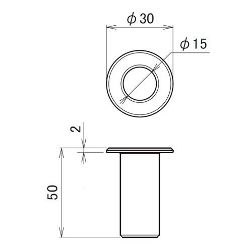 日中 丸落し受座ロング スチール(孔Φ15)製品図面・寸法図