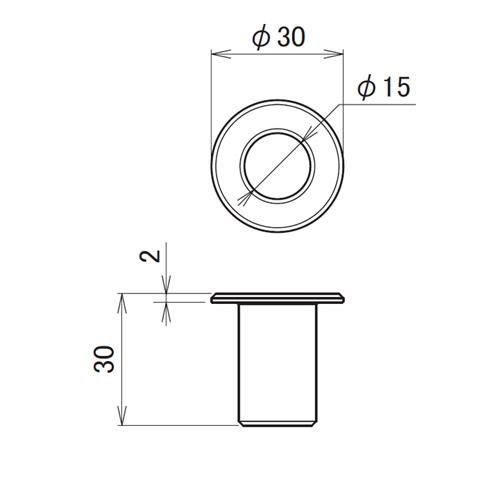 日中 丸落し受座 スチール(孔Φ15)製品図面・寸法図