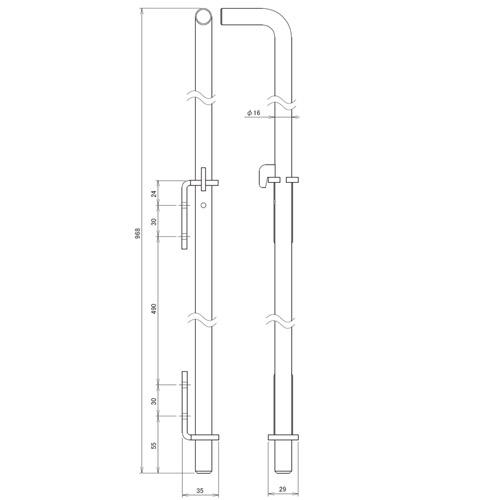 日中 丸落しロング スチール(Φ16)製品図面・寸法図