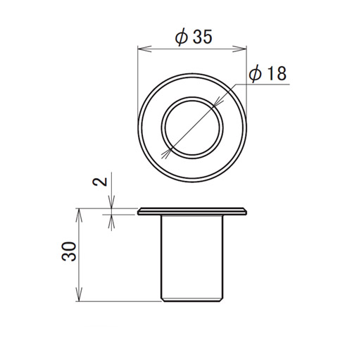 日中 丸落しロング用受座 スチール(孔Φ18)製品図面・寸法図