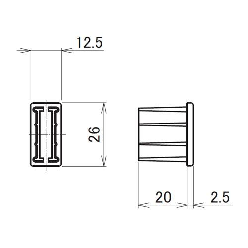 日中 センターポールスリム用 エンドキャップ製品図面・寸法図