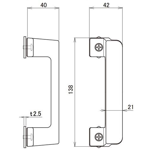 日中 サイドハンドル シルバー製品図面・寸法図