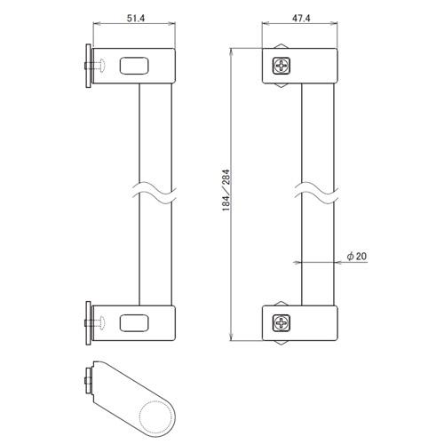 日中 アルミパイプハンドル 184mm製品図面・寸法図
