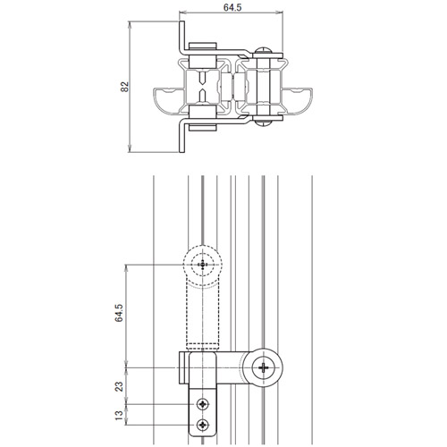 日中 MB・MGタイプ 両開きロック金具製品図面・寸法図