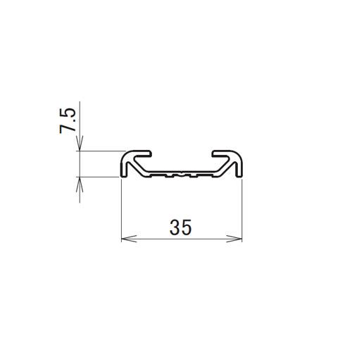 日中 直付アルミ枠 2.0m製品図面・寸法図