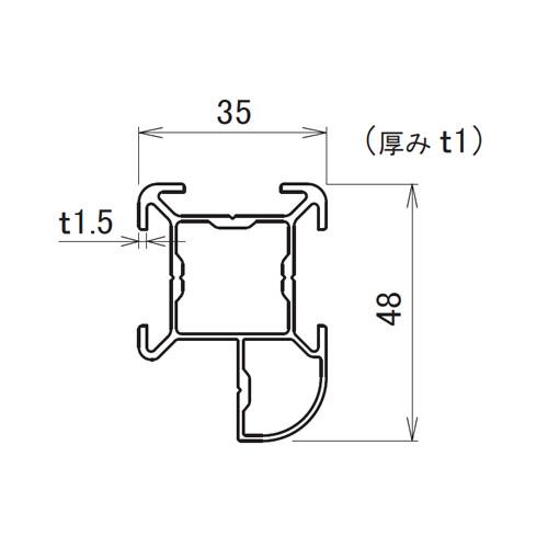 日中 サイドポール アルファ 2.5m製品図面・寸法図