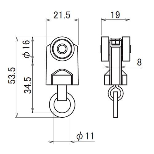日中 レクト40用重量級 ステンレス Bランナー製品図面・寸法図