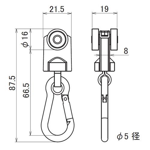 日中 レクト40用重量級 ステンレス Bスナップランナー製品図面・寸法図