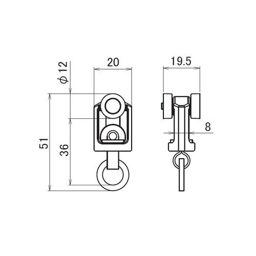 日中 レクト30 ステンレスランナー 許容荷量15kg製品図面・寸法図
