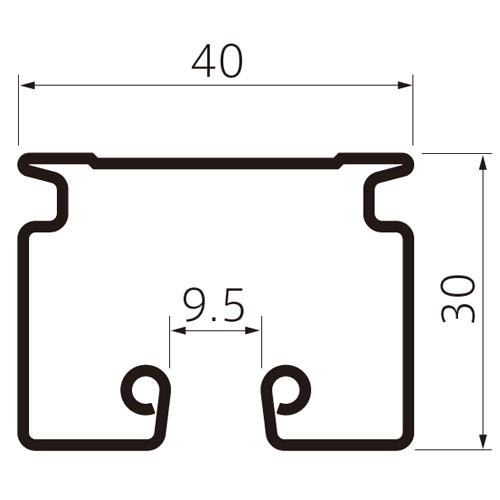 フェデポリマーブル Z-40レール2mスチール 製品図面・寸法図-1