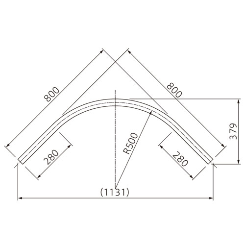 フェデポリマーブル Z-40カーブレール500R×80cm×80cmスチール 製品図面・寸法図-2