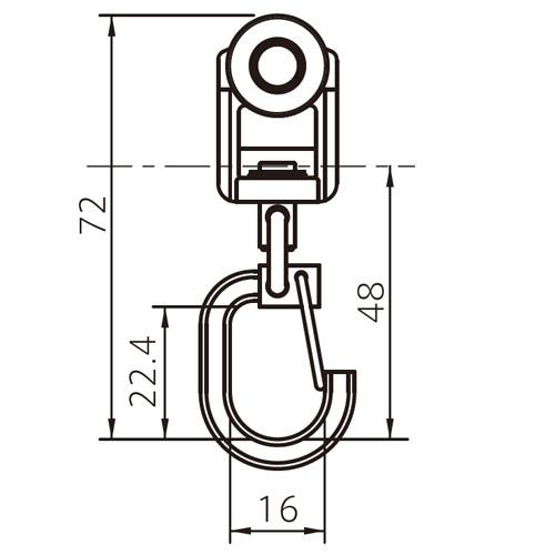 フェデポリマーブル 40用TフックランナーA 製品図面・寸法図-1