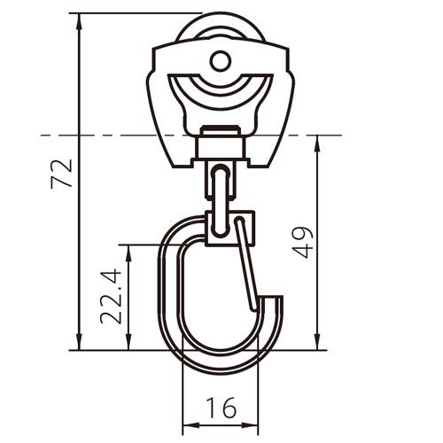 フェデポリマーブル 40用TフックランナーS 製品図面・寸法図-1