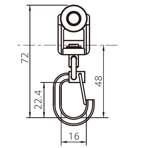 フェデポリマーブル 40用ベアリングTフックランナー 製品図面・寸法図-1