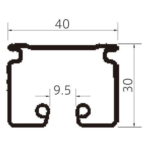フェデポリマーブル ST-40レール2mアルミ 製品図面・寸法図-1