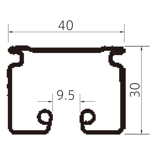 フェデポリマーブル ST-40レール4mアルミ 製品図面・寸法図-1