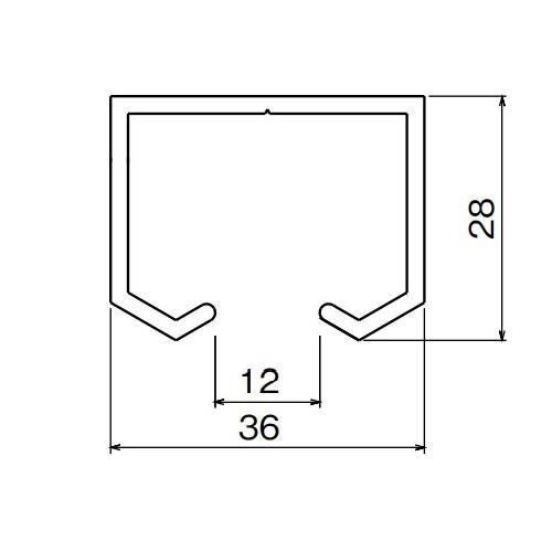 ダイケン アルミ ドアハンガー SD10A レール(上部用) 3640mm  シルバー製品図面・寸法図